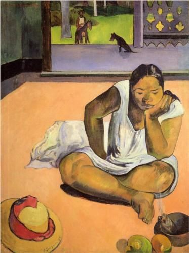 Brooding Woman by Paul Gauguin