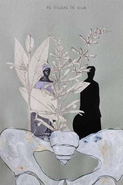 """Rosana Paulino - """"As filhas de Eva"""" série ADÃO E EVA NO PARAÍSO BRASILEIRO. Técnica mista sobre papel azul. 49,5 x 34,5 cm. 2014"""