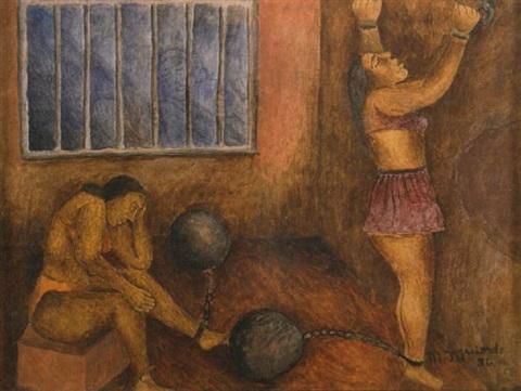 María Izquierdo (Mexican) - Mujeres en la carcel, (1936) 21,6cmx28cm. (8.5 x 11 in.).